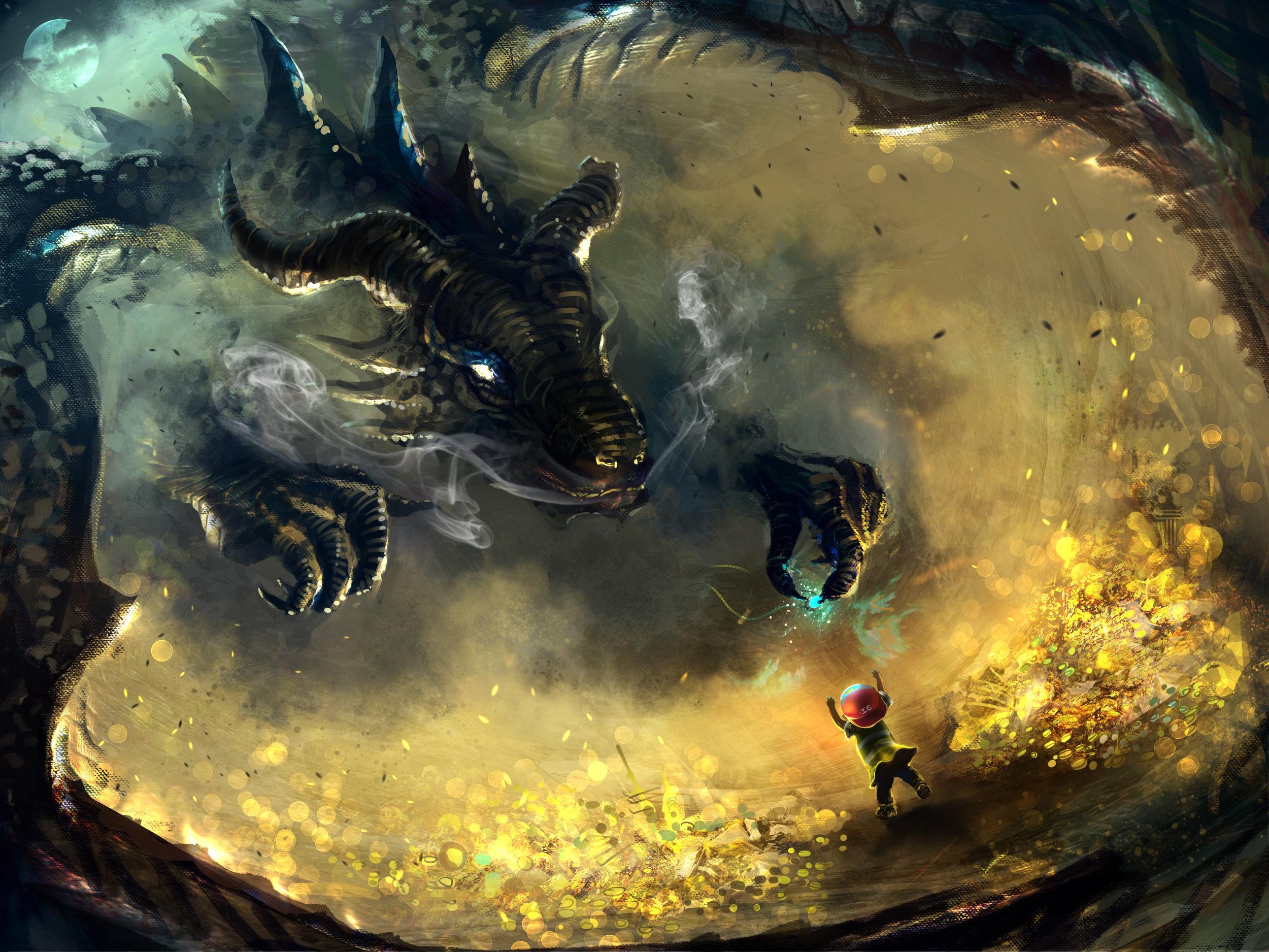 Befriending A Dragon by  Russell Goh.  https://ultragriffy.deviantart.com/