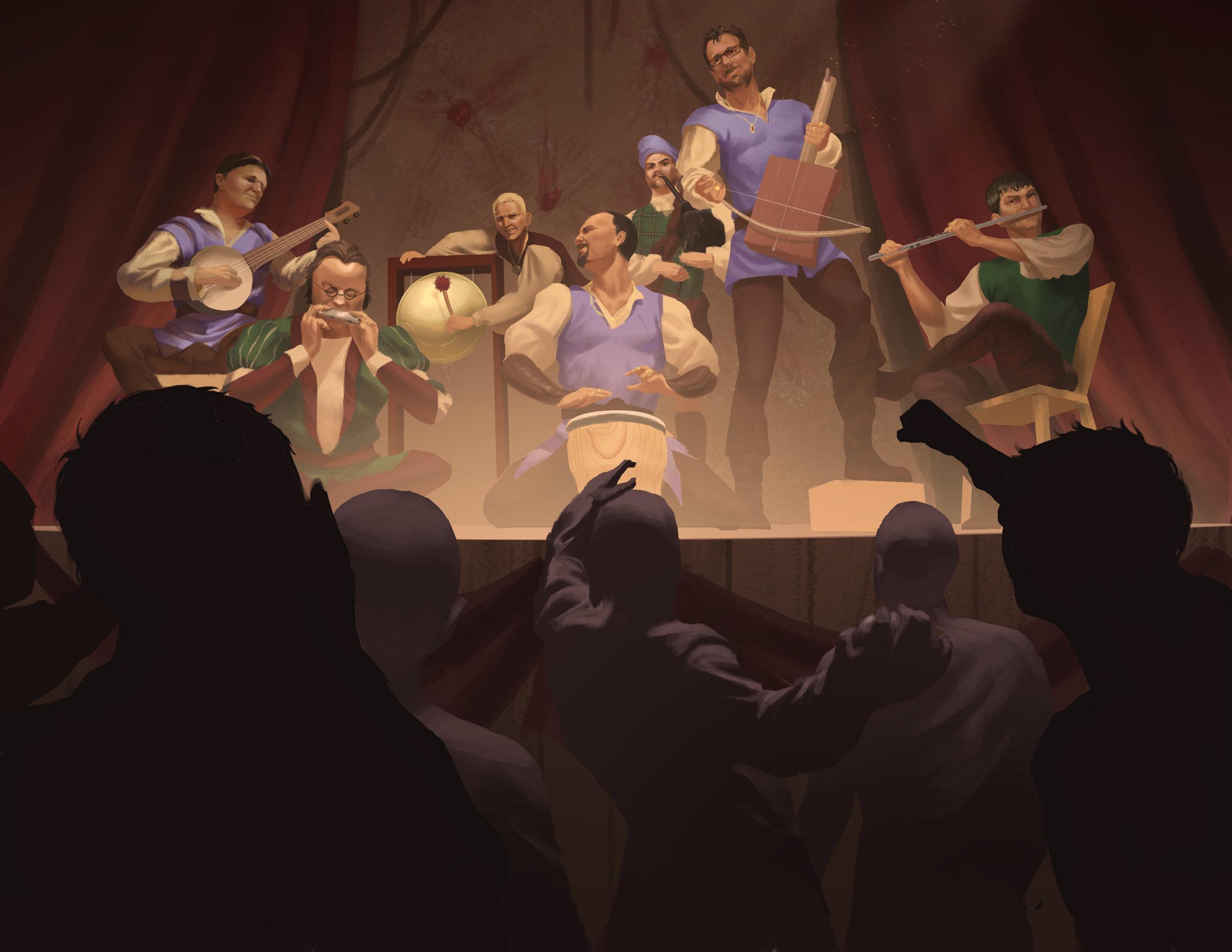 Booing the Bards by  Steve Stark.  https://i-stark.com/illustration/   An image inspired by a Kickstarter Backer.