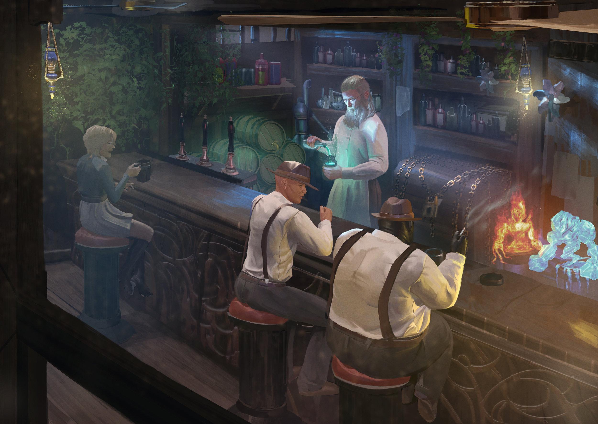 Brewing Magic by  Sarayu Ruangvesh.  https://ron-faure.deviantart.com/   An image inspired by a Kickstarter Backer.