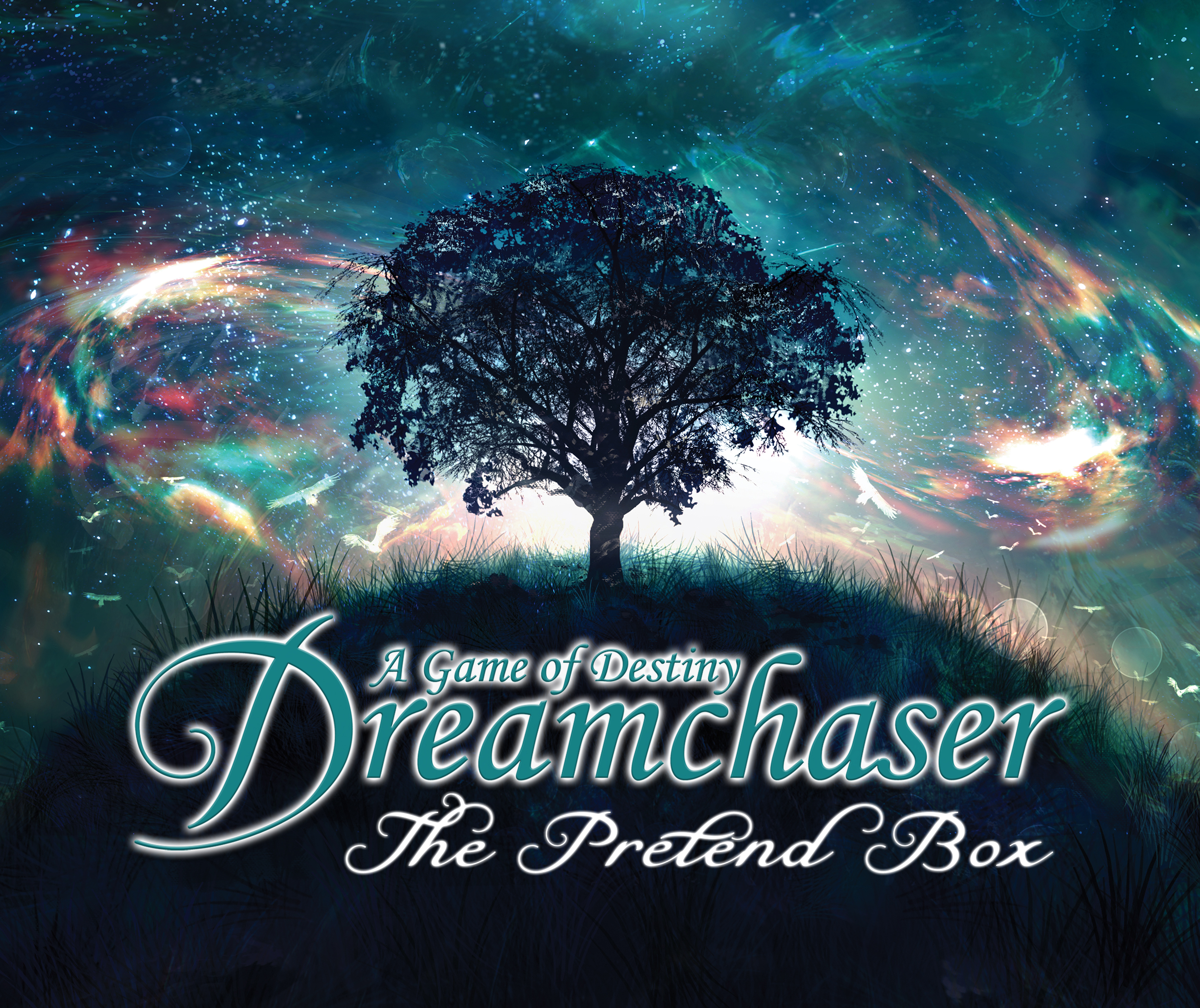 The Front Cover of  Dreamchaser: The Pretend Box. (Core Book & All Accessories)