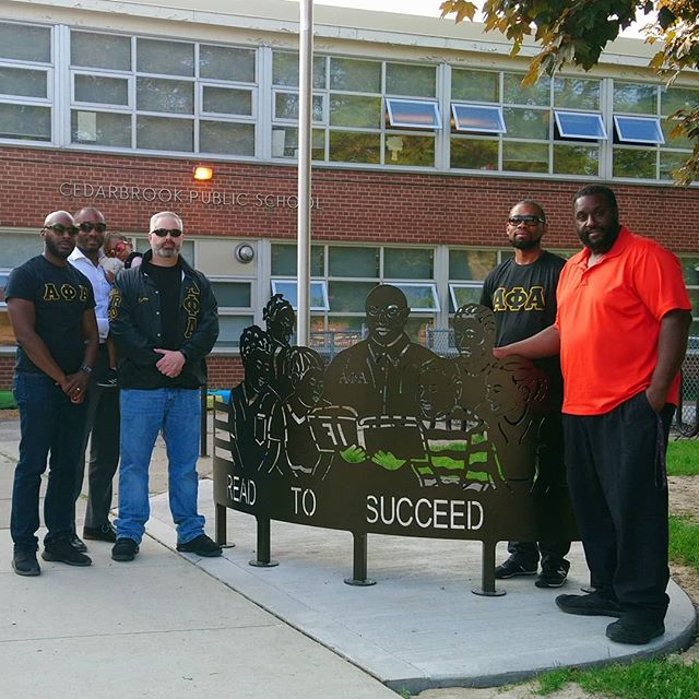 @TorontoAlphas unveil the installed Read to Succeed bench donated by the @AlphaMidwest06 to Cedarbrook P.S. in support of fostering their students passion for reading and literacy.  #TDSBModelSchools #TorontoAlphas #AlphaPhiAlpha #AlphaMidwest #Scarborough #Scholarship #Literacy #TDSB #1906