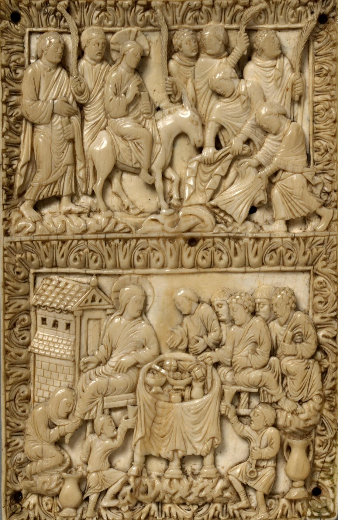 Entry into Jerusalem, Christ in the House of Simon, c. 870-880 V&A ivory 257-1867