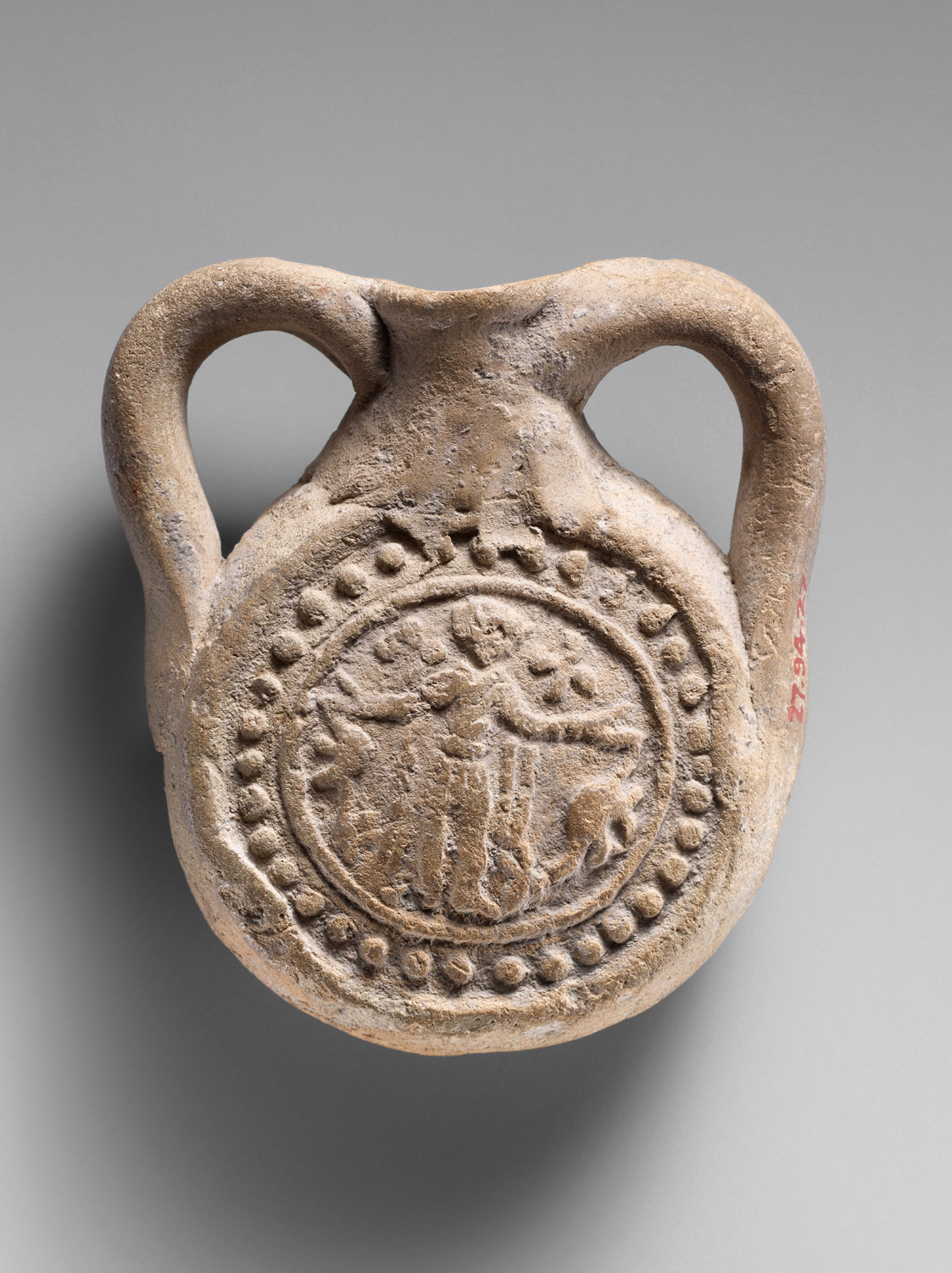 6th- to 8th-century pilgrim flask of St. Menas (Egypt) https://www.metmuseum.org/art/collection/search/447995