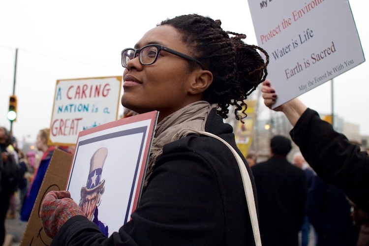 Woman at a downtown Philadelphia sister march on January 21, 2017.