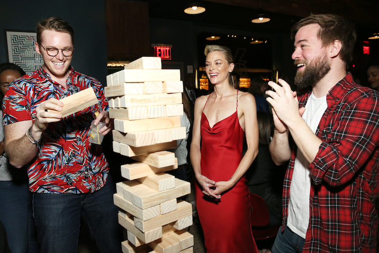 Actress and supermodel Jaime King plays an icebreaker game of giant Jenga with guests at BumbleSpot #atthemoxy at Moxy NYC Downtown.