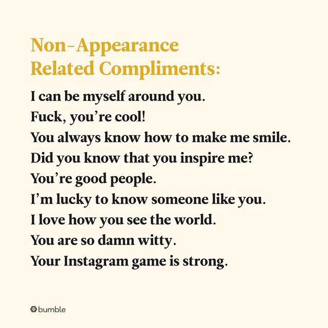 "For your reference when your date or friend deserves more than a ""you're so pretty."""