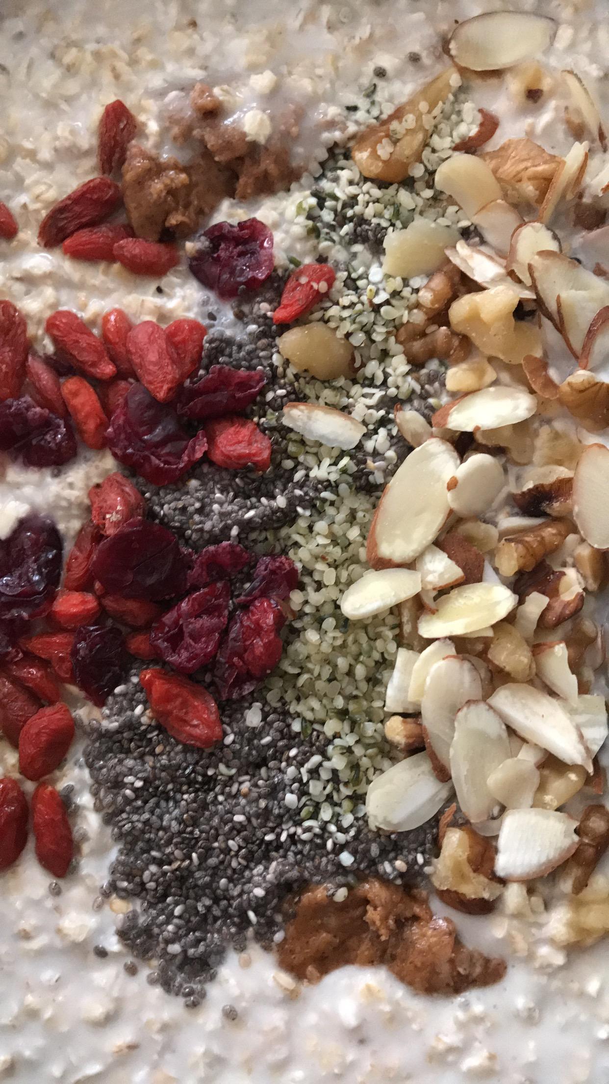 Chia seeds, hemp heart seeds, almond butter, goji berries, craisins, sliced almonds, chopped walnuts.