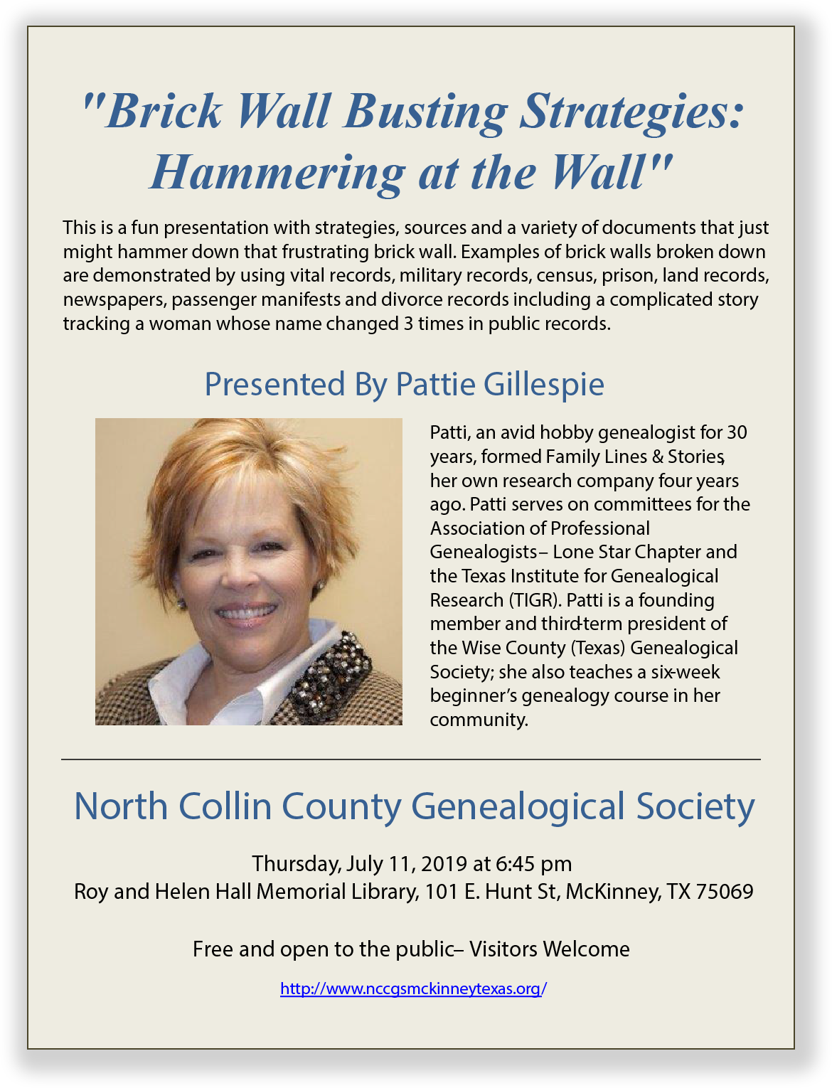 2019 07 Jul NCCGS Flyer - Patti Gillespie.png