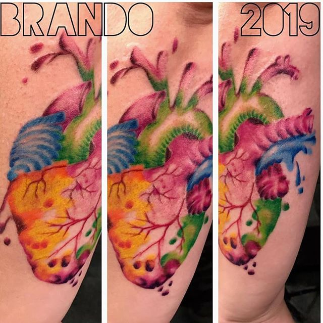 @yellingpelican beating heart in watercolor, by Brandon. . . . #hearttattoo #heart #💕 #rosevilleartist #rosevilletattoo #brandonclingan #thestudiocustomtattoos #watercolortattoo #fullcolor #colortattoo #freshink #anatomicalheart