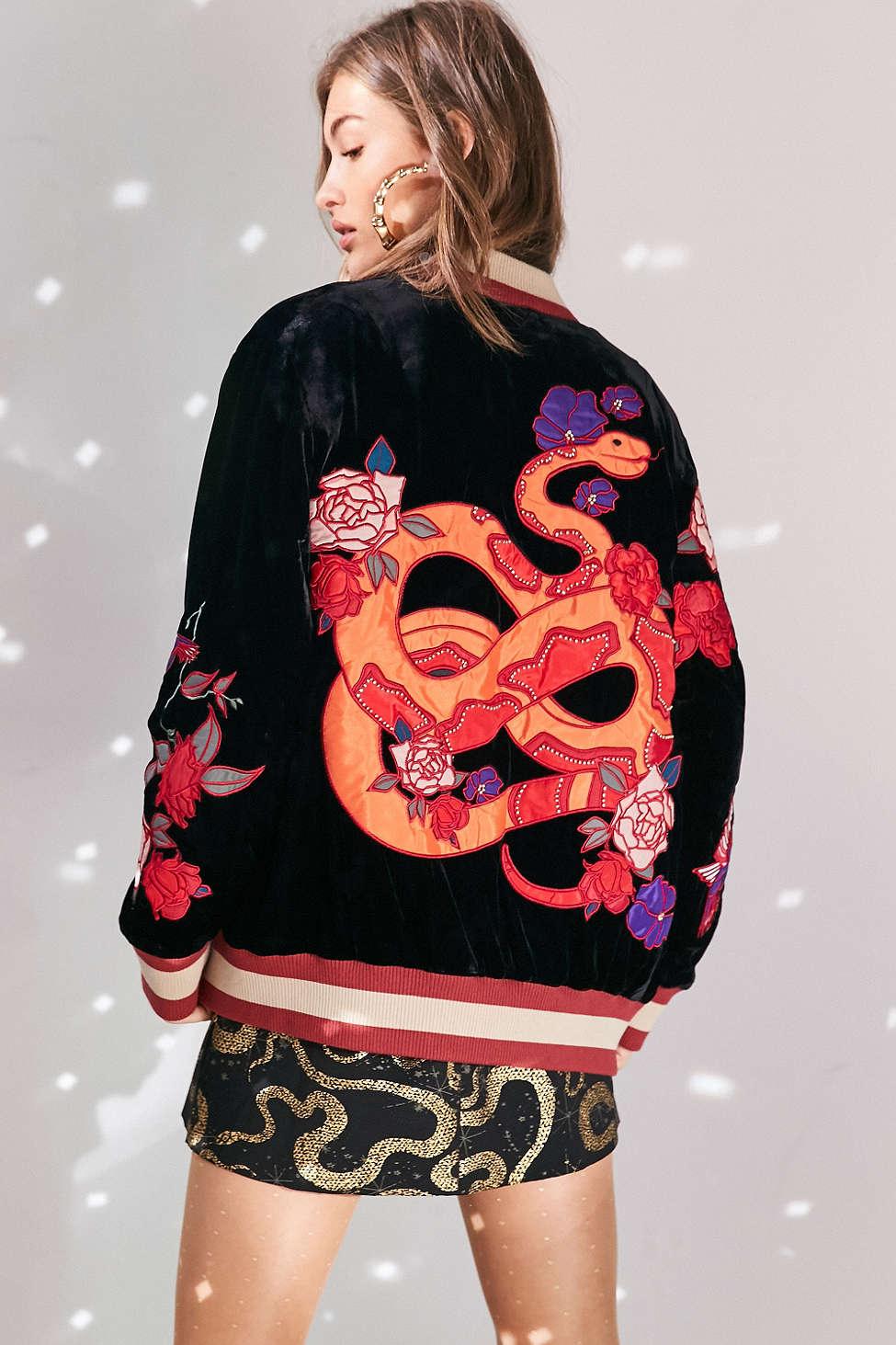 Reversible Embroidered Velvet Bomber Jacket $150