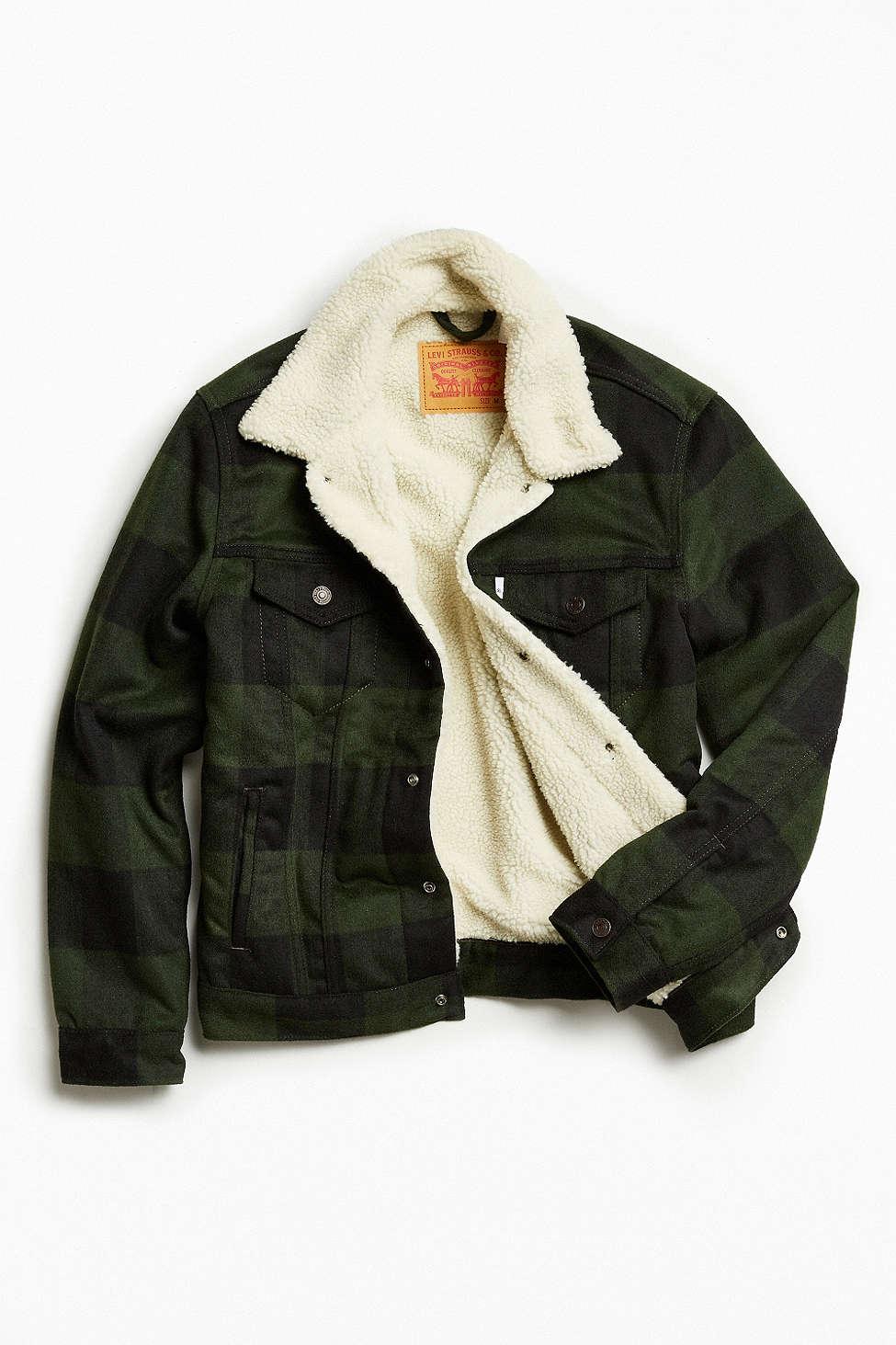 Levi's Buffalo Plaid Flannel Sherpa Jacket $129