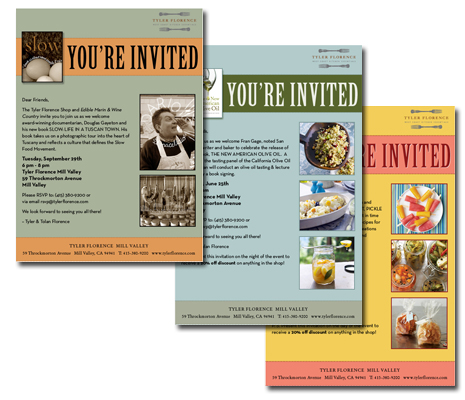 Invitations to in-store events at the Tyler Florence Shop in Mill Valley, CA.