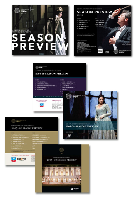 CD packaging design and production of  San Francisco Opera Preview CD from 2007–18.