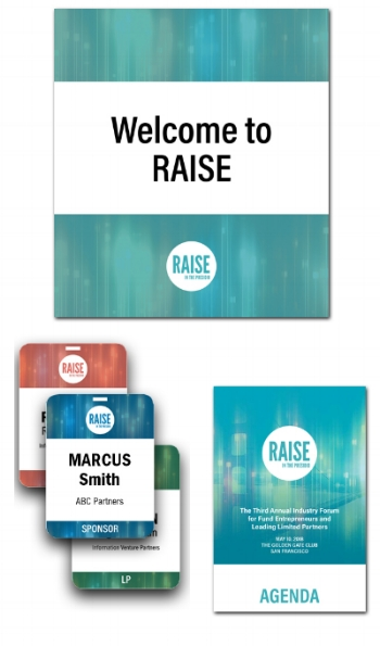 2018 signage, presentation templates, name badges, and all other materials for annual RAISE conference in San Francisco.