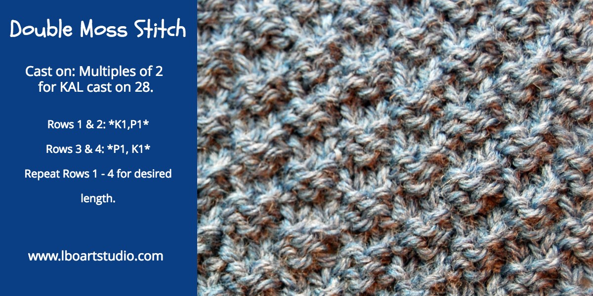This one is also called Double Seed stitch.  You can see why as it works up just like seed but everything is doubled.  Another sturdy one that lays flat and is reversible another good choice for a scarf.  I love it in cardigans along the lower 2 inches before I move into stockinette.