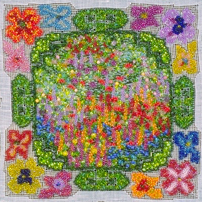 Visions of Paradise , 1988, Bead Embroidery on kerchief, 10 x 10 inches, Photo credit: Red Elf