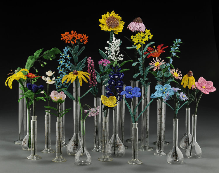 The Glass Prairie, beads, wire, floral tape and scienctific glass. per flower.Sizes vary Photo Credit: Larry Sander
