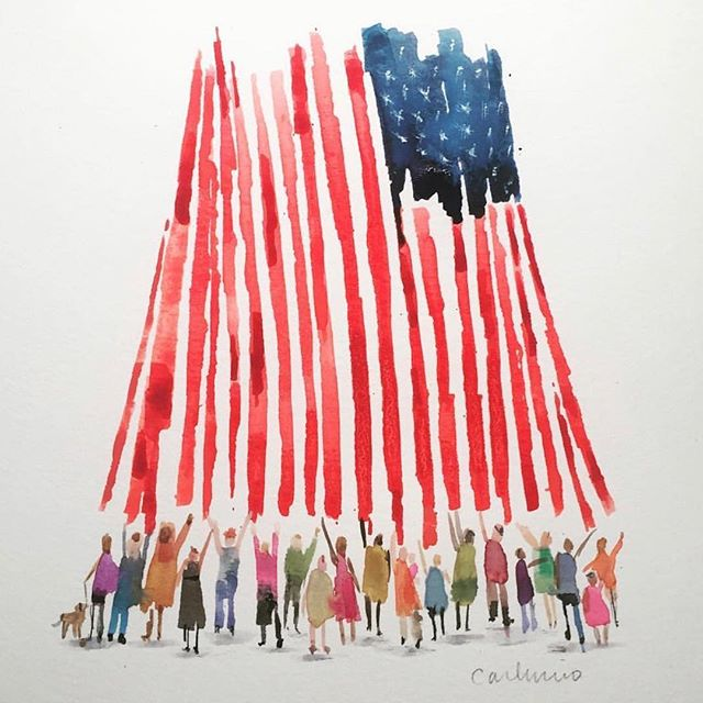 Tomorrow is the day our kids will be asking us about in the future.  Vote for them as we are the ones that got us here - let's make them proud of the choices we make. 🗳🇺🇸 ✨ (incredible artwork by @carluccio7)