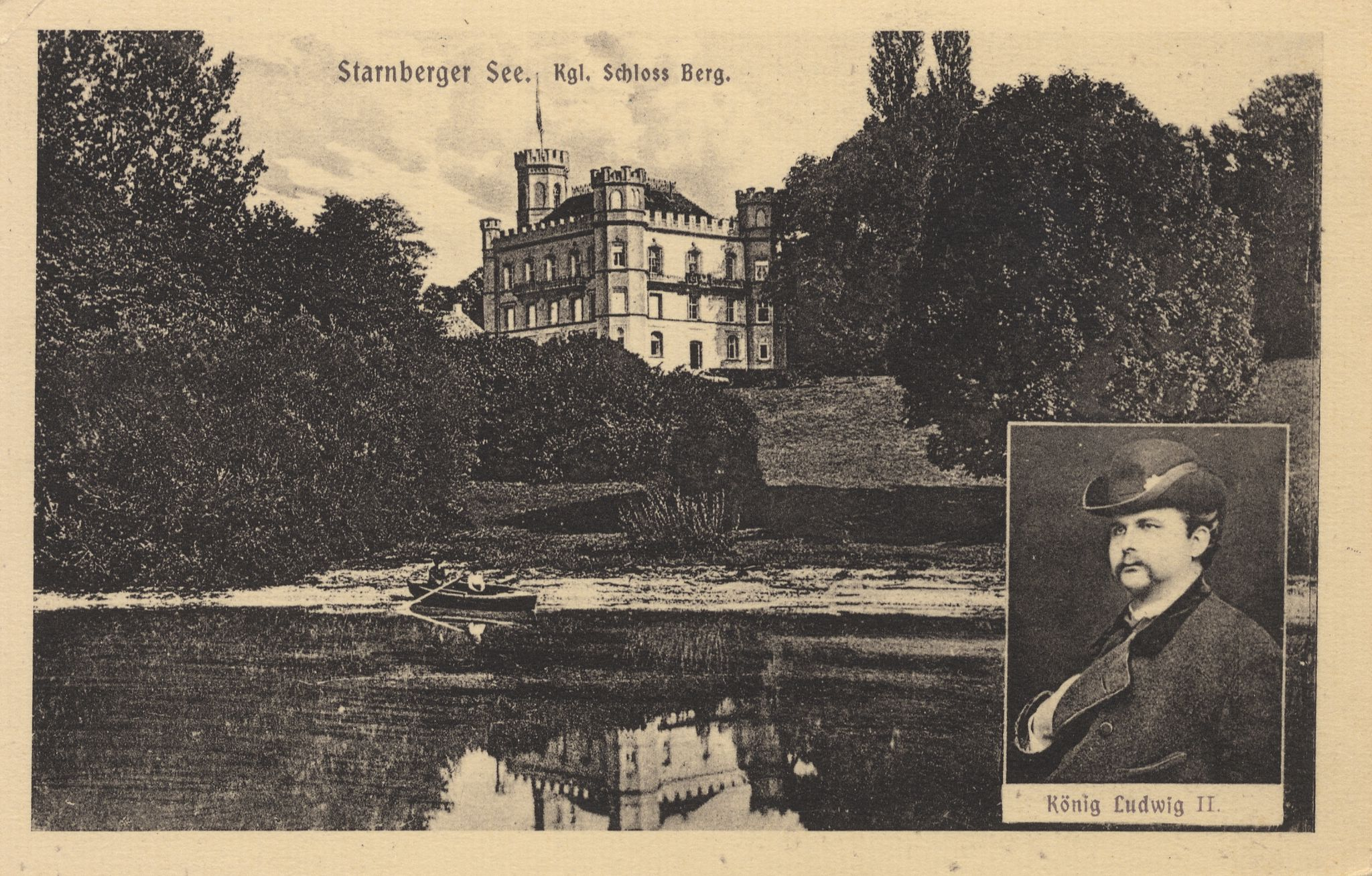 "Lake Starnberg, with portrait of ""Mad"" King Ludwig inset, via Zeno.org"