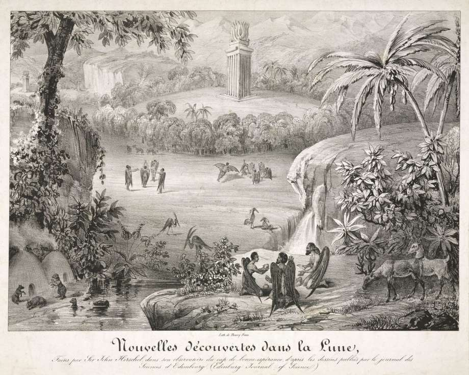 A French print by the Thierry bothers showing the appearance of the landscape and inhabitants of the Moon, via  The Houston Chronicle