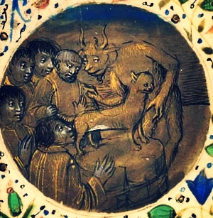 The devil directing Cathars to kiss a cat's anus, via  Cathar.info