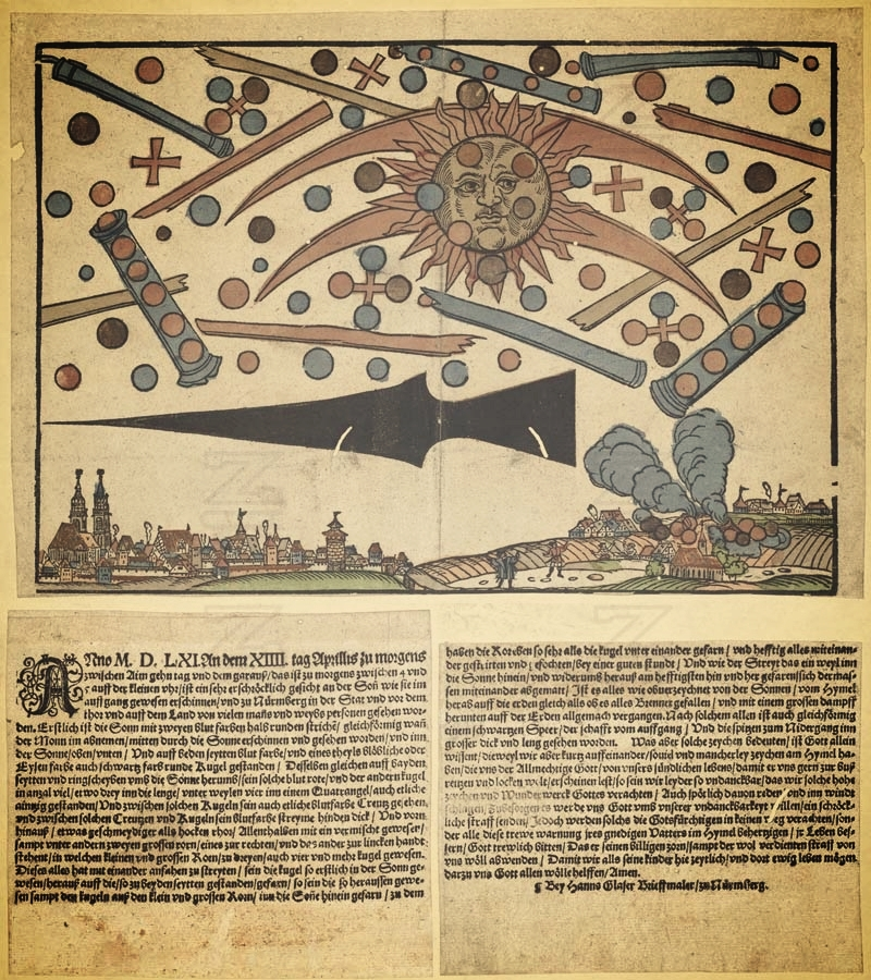Glaser's broadsheet with woodcut depiction of the celestial wonder, via  Wikimedia Commons