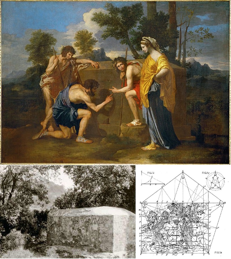 Poussin's The Shepherds of Arcadia, with a photo of the stone tomb near Arques that Lincoln believed was depicted in it and a diagram of the geometric patterns he believes are present in the painting.