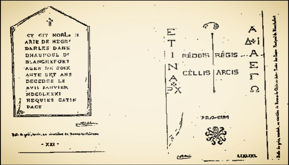 The alleged tombstones said to be the key to the greater parchment cipher, via  Rhedesium .