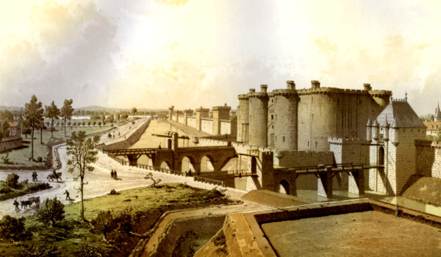 Historical reconstruction of the Bastille in 1420, via  Wikimedia Commons