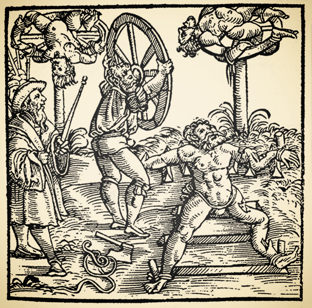A depiction of torture victims being broken on the wheel, via  Wikimedia Commons