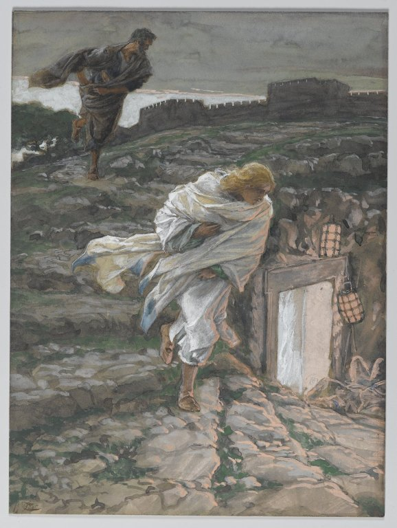The Beloved Disciple arrives at the Sepulchre before Peter; by James Tissot ca. 1886–94, via  Wikimedia Commons