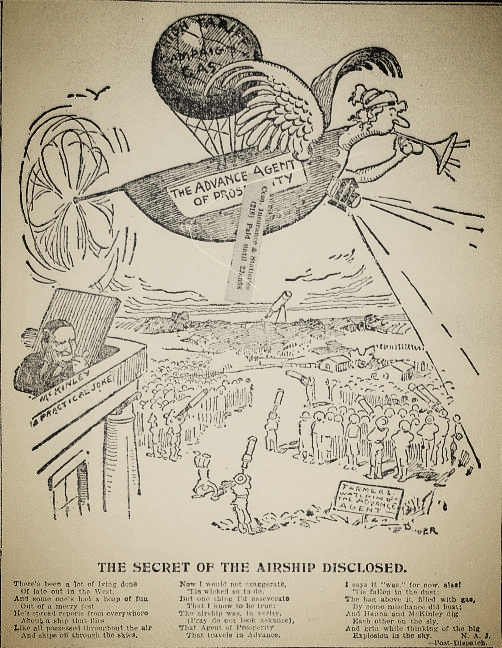 A contemporary cartoon and poem makes of the airship sightings a metaphor, via  Chronicling America