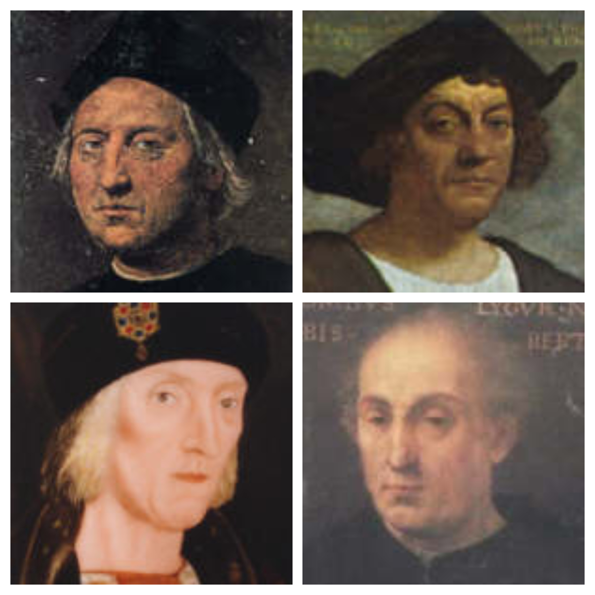 Various portraits of Columbus showing no resemblance to each other, via  vanderkrogt.net