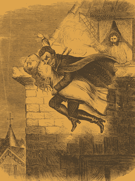 Spring-Heeled Jack, depicted making off with a young lady victim, via  Wikimedia Commons