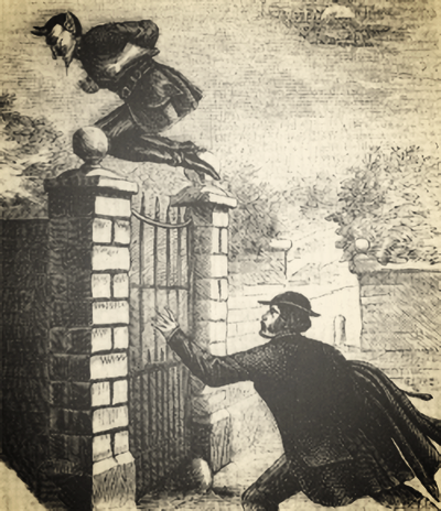 Spring-Heeled Jack, leaping a gate, via  Wikimedia Commons
