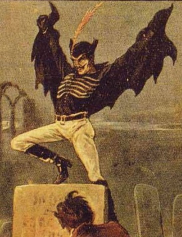 Spring-Heeled Jack among the headstones in a cemetery, via  Wikimedia Commons