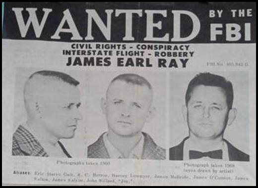 FBI Wanted poster for James Earl Ray, via  Wikimedia Commons