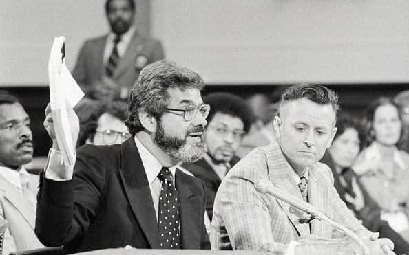 James Earl Ray and his lawyer testifying before the House Select Committee on Assassinations, via  The Telegraph