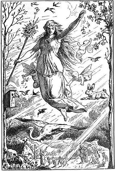 The goddess Ēostre or Ostara, by Johannes Gehrts, 1901, via  Wikimedia Commons
