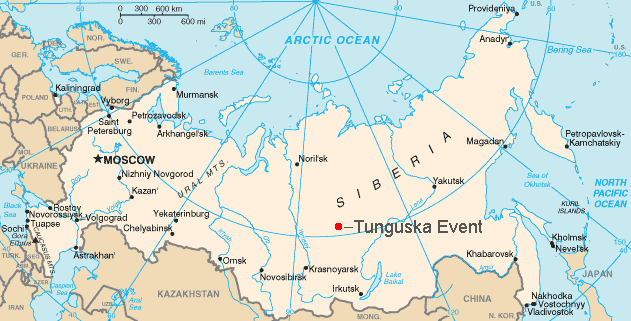 Location of the Tunguska Event, via  Wikimedia Commons
