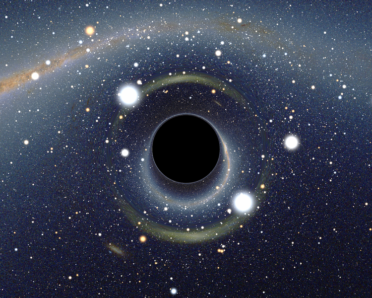 Simulated view of a black hole, via  Wikimedia Commons    (CC BY-SA 2.5)