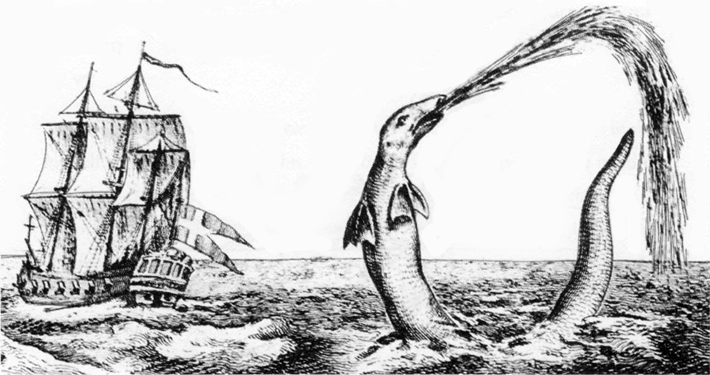 A depiction of the sea serpent reported by Hans Egede, via  Wikimedia Commons