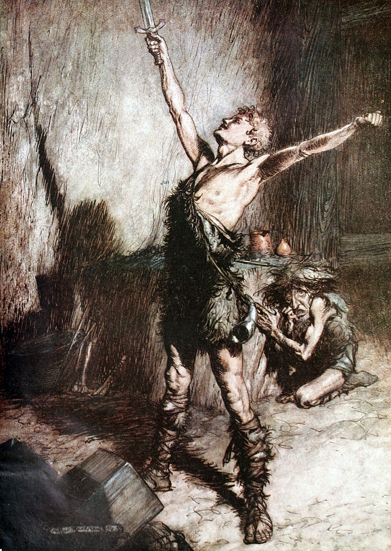 Depiction by artist Arthur Rackham of a scene from Richard Wagner's  The Ring of the Nibelung , via  Wikimedia Commons