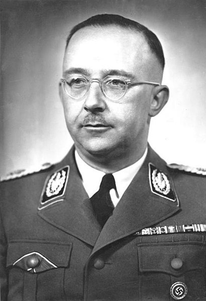 Photograph of Himmler by Friedrich Franz Bauer, licensed under  (CC BY-SA 3.0 DE)  via  Wikimedia Commons