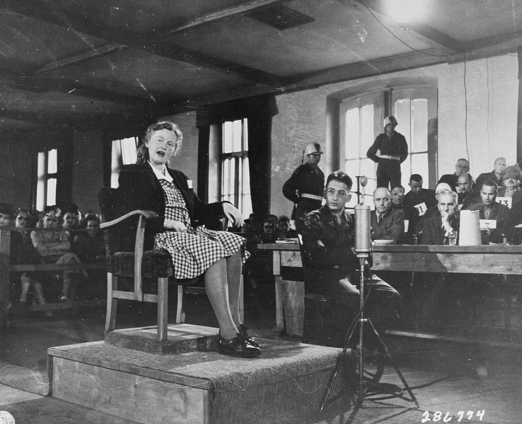 Ilse Koch testifying in her own defense, via  Wikimedia Commons