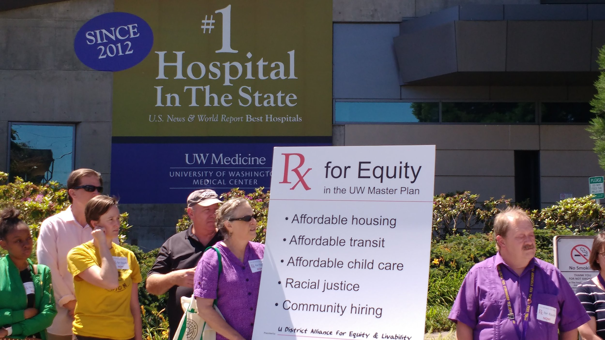 "Coalition members ready to present ""Prescription for Equity"" to UW Hospital CEO Dr. Paul Ramsey"
