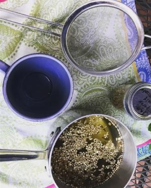 Mesh strainer, for tea, almond milk, or coconut milk. Similar  h  ere