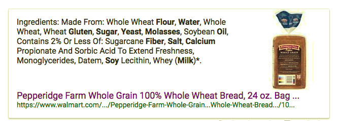 """Typical laundry list of ingredients in whole grain """"healthy"""" whole grain bread including the very low quality soybean oil."""
