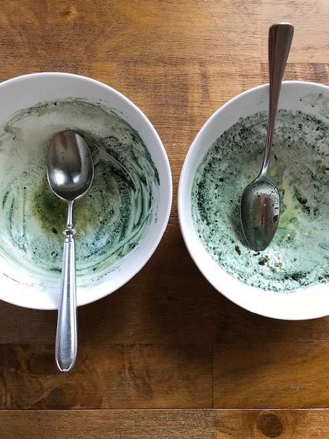 Green bowls and green teeth!