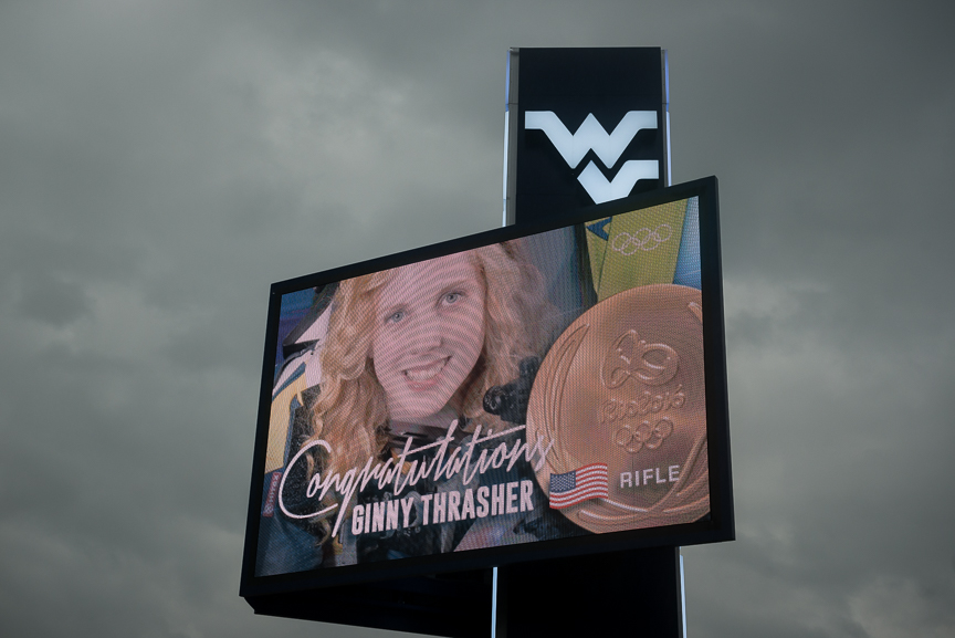 A sign congratulating West Virginia University sophomore Ginny Thrasher, 19, who won the United State's first gold medal of the Rio Olympics, competing in the women's 10-meter air rifle event. Thrasher is the first female from the university to win a gold medal in the Olympics.